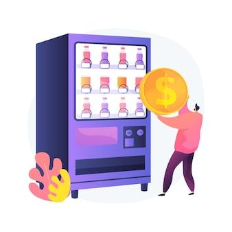 Ilustração do conceito abstrato de máquina de venda automática. empresa de venda automática, máquina de autoatendimento, lanches e bebidas, pequena empresa, café para viagem, espaço público, comércio