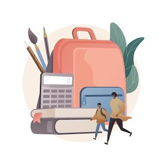 Ilustração do conceito abstrato de material escolar