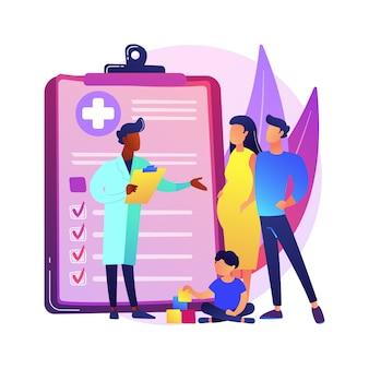 Ilustração do conceito abstrato de médico de família. visite seu médico, clínica médica de família, provedor de cuidados de saúde primários, clínico geral, serviço médico, metáfora abstrata de seguro.