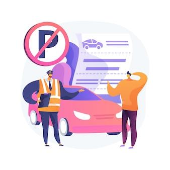 Ilustração do conceito abstrato de multas de estacionamento
