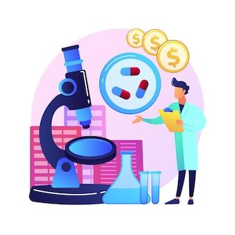 Ilustração do conceito abstrato de negócio farmacológico. indústria farmacológica, negócios farmacêuticos, pesquisa e produção de medicamentos, rede de farmácias, corporação.