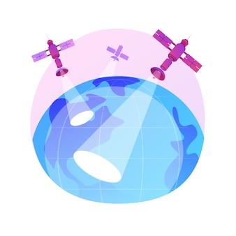 Ilustração do conceito abstrato de observação da terra. engenharia espacial, ciência planetária, serviço de satélite, geoinformação, observação aplicada da terra, sensoriamento remoto.