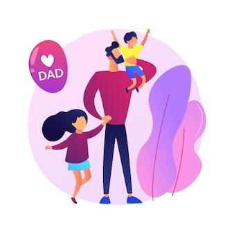 Ilustração do conceito abstrato de pai solteiro. família monoparental, paternidade, criança feliz, filho e filha, homem alimentando carregando bebê, ajuda nos estudos, bom pai