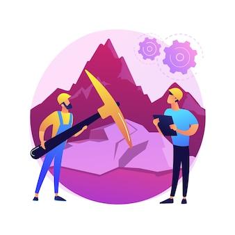 Ilustração do conceito abstrato de petrologia. estudo de formação de rochas, ramo de geologia, disciplina universitária, exploração mineral, recursos naturais, petrologia experimental.