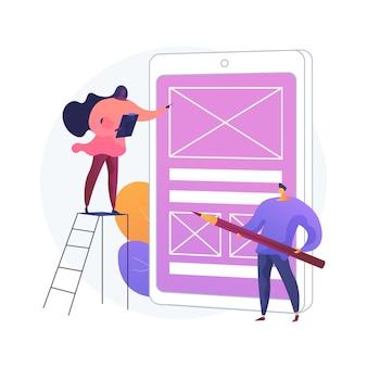Ilustração do conceito abstrato de prototipagem. conceito de design, teste de usuário, experiência do usuário, versão de rascunho do site, ideia de interface, trabalho criativo, página de destino, aplicativo digital