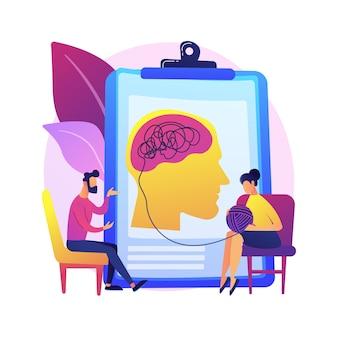 Ilustração do conceito abstrato de psicoterapia. intervenção não farmacológica, aconselhamento verbal, serviço de psicoterapia, terapia cognitiva comportamental, sessão privada.