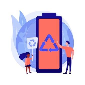 Ilustração do conceito abstrato de reciclagem de bateria