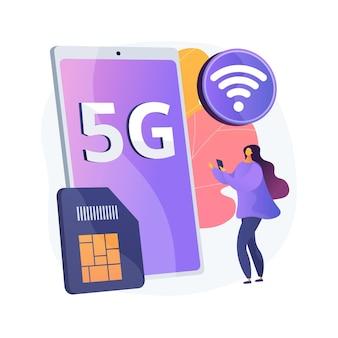 Ilustração do conceito abstrato de rede 5g de telefones celulares