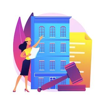 Ilustração do conceito abstrato de regulamentos de construção. controle de construção, serviços de construtor, formulário de inscrição, canteiro de obras, documento legal, política de segurança