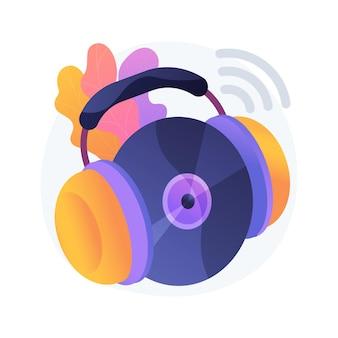 Ilustração do conceito abstrato de reprodução de música. tecnologia de streaming de música para internet, transmissão de áudio gravado, reprodução de vídeo de concerto, aplicativo de tv