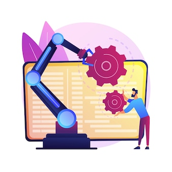 Ilustração do conceito abstrato de robótica colaborativa. inteligência artificial colaborativa, robótica de manufatura, automatização cobot, soluções industriais seguras.
