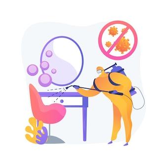 Ilustração do conceito abstrato de saneamento de salões de beleza. salões de cabeleireiro e unhas, desinfetar totalmente após cada visita do cliente, suprimentos descartáveis, distância social, limpar a superfície
