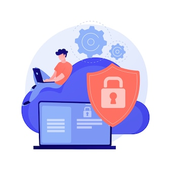 Ilustração do conceito abstrato de segurança de computação em nuvem
