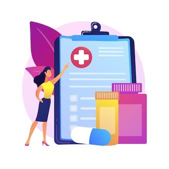 Ilustração do conceito abstrato de seguro saúde. contrato de seguro saúde, despesas médicas, formulário de solicitação de reembolso, consulta com agente, documento de assinatura, cobertura de emergência