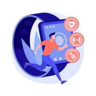 Ilustração do conceito abstrato de sensores e vestíveis de rastreadores de saúde