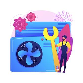 Ilustração do conceito abstrato de serviços de ar condicionado e refrigeração. instalação, reparo e manutenção de condicionadores de ar, equipamentos de sistemas de controle de clima