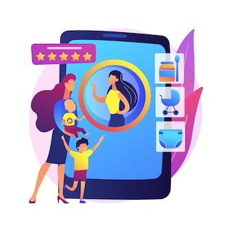 Ilustração do conceito abstrato de serviços de babá. aplicativo de babá, serviços pessoais de puericultura, babá confiável, babá segura, ajuda 24 horas por dia com crianças.