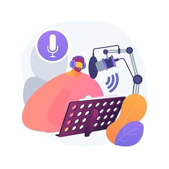 Ilustração do conceito abstrato de serviços de locução. estúdio de gravação de voz over, serviços de produção de áudio e vídeo, artista de narração, agência de publicidade, texto para fala