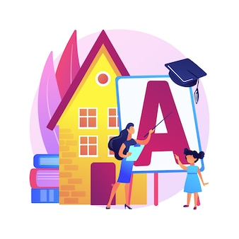 Ilustração do conceito abstrato de seus filhos em casa-escola. ensino à distância, educação em casa remota, programa escolar estruturado, pais ajudam os filhos a estudar