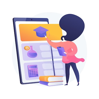 Ilustração do conceito abstrato de software e app de tutoria online. sessão de tutoria online, chat de vídeo, e-learning, software de agendamento, plano de aprendizagem pessoal