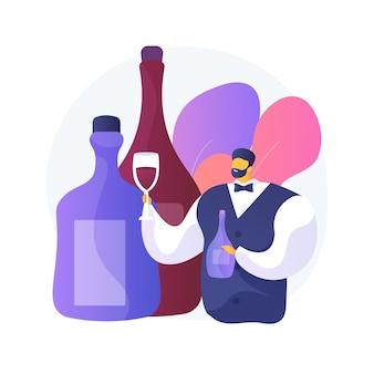 Ilustração do conceito abstrato de sommelier. administrador de vinhos, especialista em restaurantes, serviço de vinhos, menu de comida, certificação, guilda internacional, garrafa de vidro, bebida servida