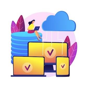 Ilustração do conceito abstrato de tecnologia saas. software como serviço, computação em nuvem, serviço de aplicativo, acesso ao cliente, licenciamento de software, assinatura, preços.