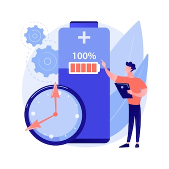 Ilustração do conceito abstrato de tempo de execução da bateria