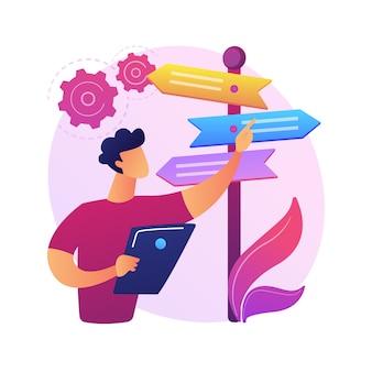 Ilustração do conceito abstrato de tomada de decisão. habilidade de resolução de problemas, liderança, estrutura de tomada de decisão, análise de árvore, abordagem racional, gestão de negócios