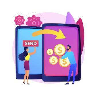 Ilustração do conceito abstrato de transferência de dinheiro. transferência de cartão de crédito, método de pagamento digital, serviço de cashback online, transação bancária eletrônica, envio de dinheiro para todo o mundo.