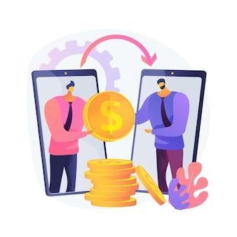 Ilustração do conceito abstrato de transferência de dinheiro