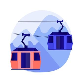 Ilustração do conceito abstrato de transporte por cabo