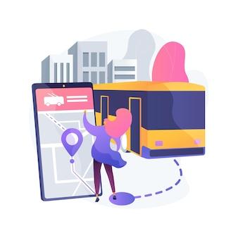 Ilustração do conceito abstrato de transporte público autônomo