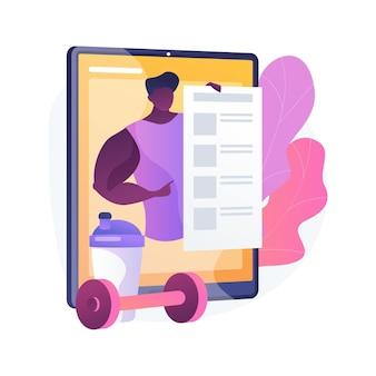 Ilustração do conceito abstrato de treinador online. programa de treinamento móvel, aprendizagem remota, aplicativo de vídeo, certificação, tornar-se um coach profissional, plano de aprendizagem individual,
