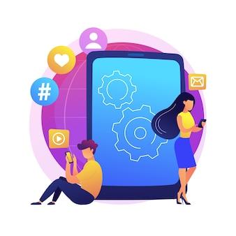 Ilustração do conceito abstrato de vício em smartphone. desordem digital, dependência de dispositivos móveis, checagem constante do telefone, distúrbio do sono, saúde mental, baixa auto-estima.