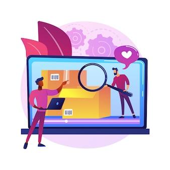 Ilustração do conceito abstrato de vídeo unboxing. desembalagem de novo item, vídeo de avaliação de produto, conteúdo de dispositivo de compra, publicidade caseira, monetização de blog, ideia de postagem de vlog.