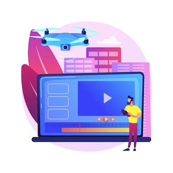 Ilustração do conceito abstrato de videografia aérea. serviço de drones aéreos, empresa de videografia, produção de vídeo profissional, filme de evento, filmagem comercial, imóveis.