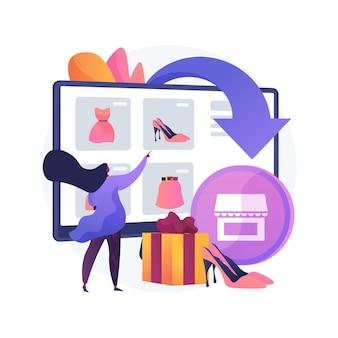 Ilustração do conceito abstrato de webrooming