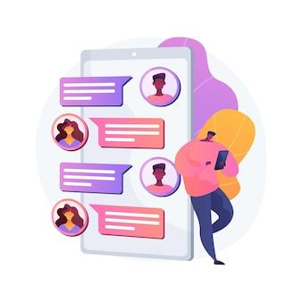 Ilustração do conceito abstrato do aplicativo de mensagens