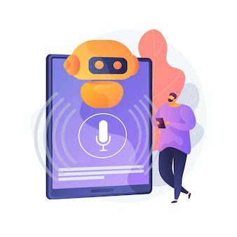 Ilustração do conceito abstrato do assistente virtual controlado por voz do chatbot
