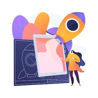 Ilustração do conceito abstrato do livro de realidade aumentada. modelo educacional, conteúdo digital, smartphone e console de jogos, reprodução de vídeo, interação com o texto
