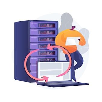 Ilustração do conceito abstrato do servidor de backup