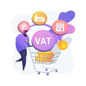 Ilustração do conceito abstrato do sistema de imposto de valor agregado