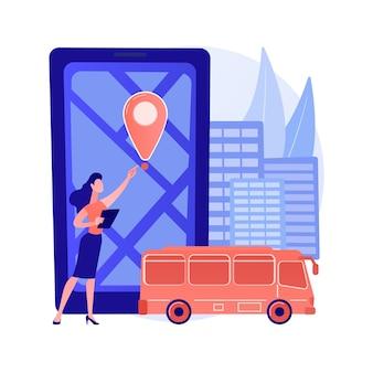 Ilustração do conceito abstrato do sistema de rastreamento do ônibus escolar