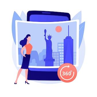Ilustração do conceito abstrato do tour virtual