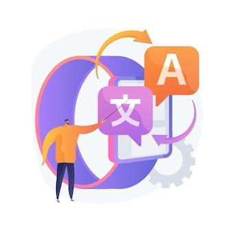 Ilustração do conceito abstrato do tradutor digital