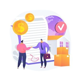 Ilustração do conceito abstrato dos termos do contrato de vendas