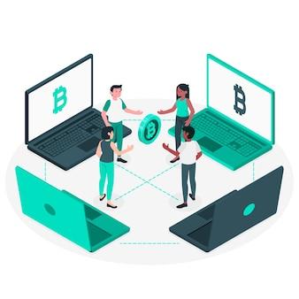 Ilustração do conceito bitcoin p2p