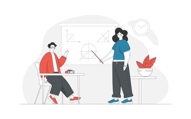 Ilustração do conceito com o tema escola e educação, com personagens e livros do tutor e dos alunos