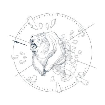 Ilustração do conceito com o urso tirado mão em formas geométricas abstratas, animal selvagem irritado.