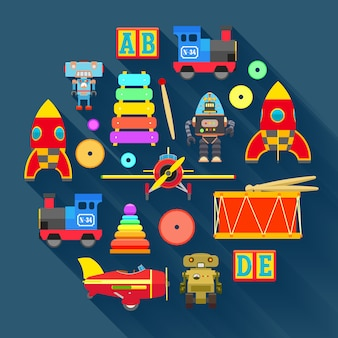 Ilustração do conceito com os brinquedos.